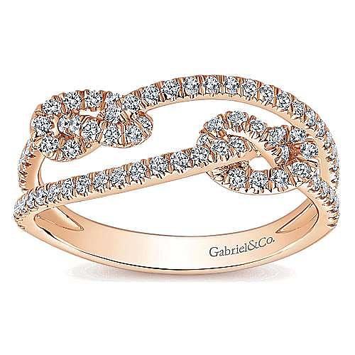 14K Rose Gold Double Love Knot Pavé Diamond Ring