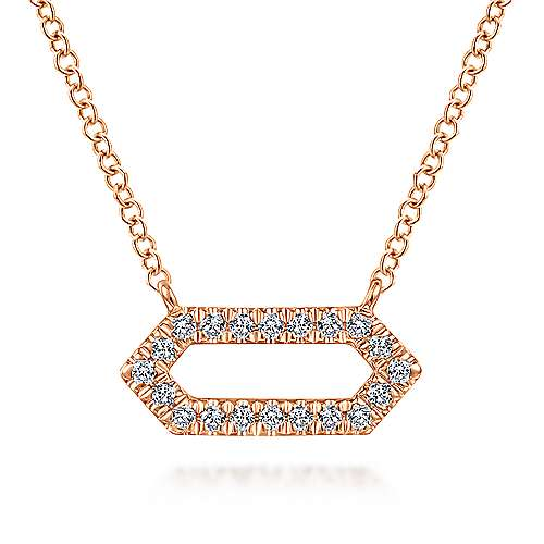 14K Rose Gold Elongated Hexagonal Diamond Pendant Necklace