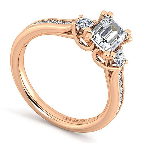 14K Rose Gold Emerald Cut Three Stone Diamond Engagement Ring