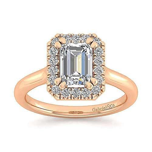 14K Rose Gold Emerald Halo Diamond Engagement Ring