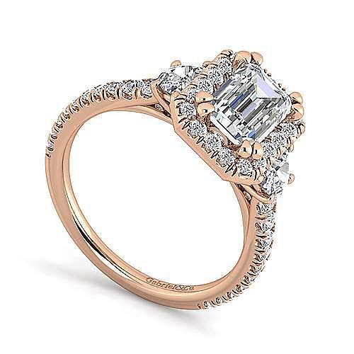 14K Rose Gold Emerald Three Stone Halo Diamond Engagement Ring
