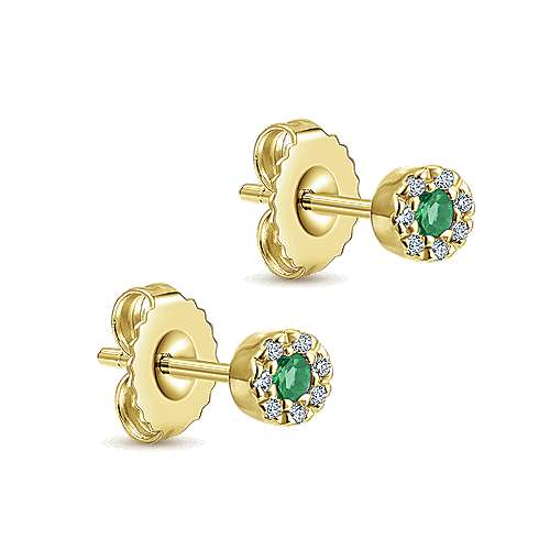 14K Rose Gold Emerald and Diamond Halo Stud Earrings