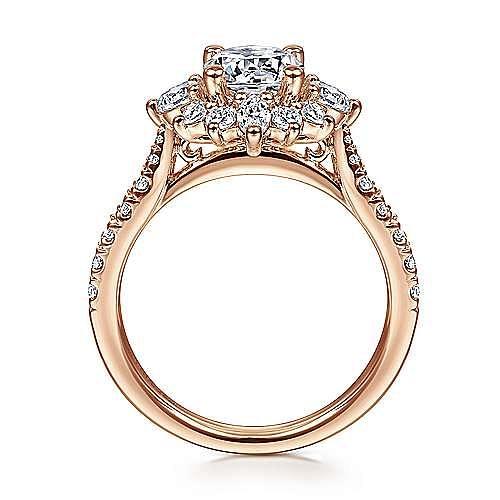 14K Rose Gold Fancy Halo Round Diamond Engagement Ring