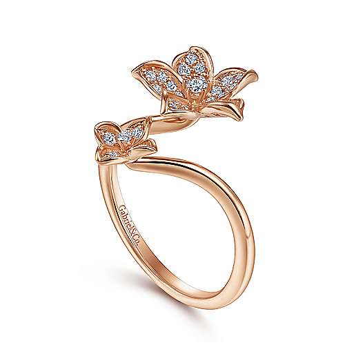 14K Rose Gold Floral Bypass Diamond Ring