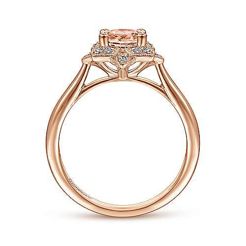 14K Rose Gold Floral Diamond Halo Round Morganite Ring