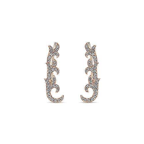 14K Rose Gold Floral Leaf Diamond Ear Climber Earrings