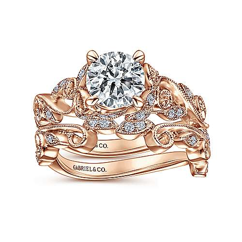 14K Rose Gold Floral Round Diamond Engagement Ring