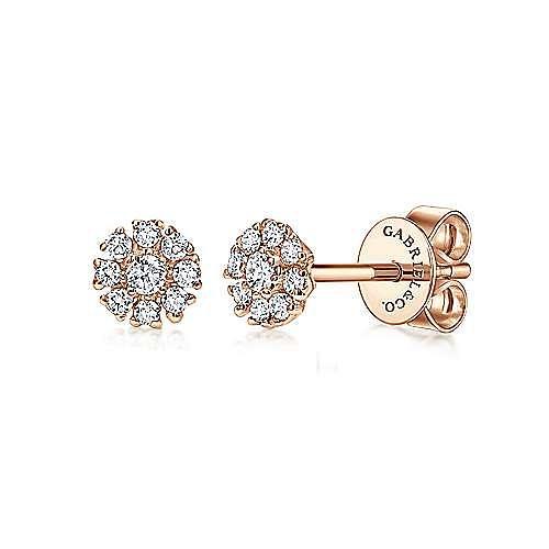 14K Rose Gold Floral Round Diamond Stud Earrings
