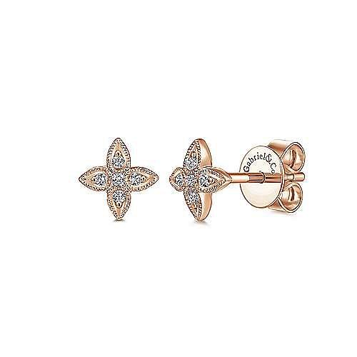 14K Rose Gold Flower Diamond Stud Earrings