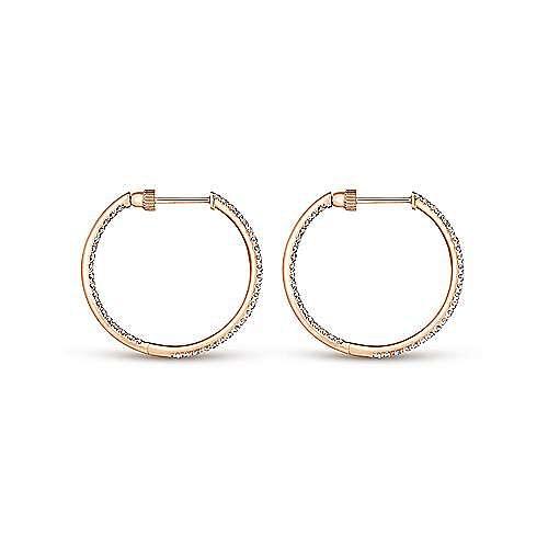 14K Rose Gold French Pavé 20mm Round Inside Out Diamond Hoop Earrings