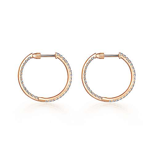 14K Rose Gold French Pavé 20mm Round Inside Out Diamond Hoop Earrings