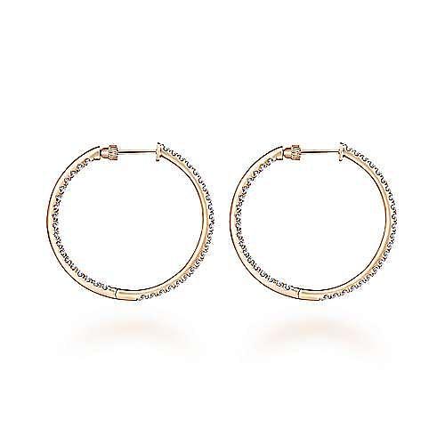 14K Rose Gold French Pavé 30mm Round Inside Out Diamond Hoop Earrings