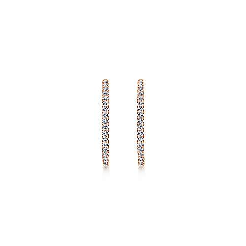14K Rose Gold French Pavé 30mm Round Inside Out Diamond Hoop Earrings