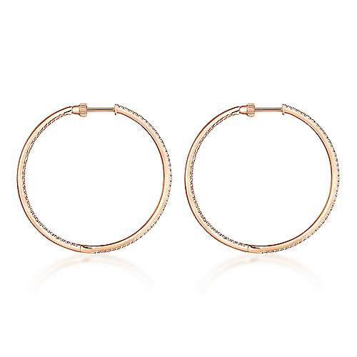 14K Rose Gold French Pavé 40mm Round Inside Out Diamond Hoop Earrings