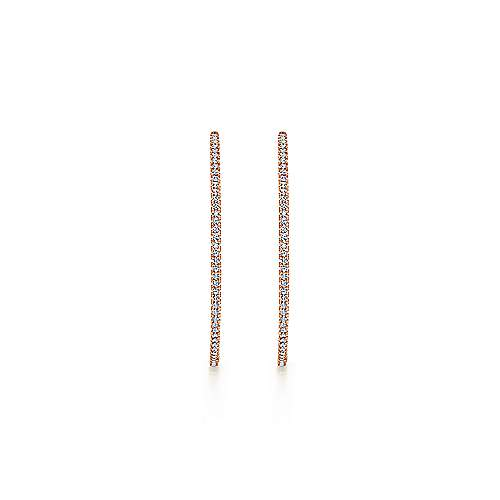 14K Rose Gold French Pavé 50mm Round Inside Out Diamond Hoop Earrings