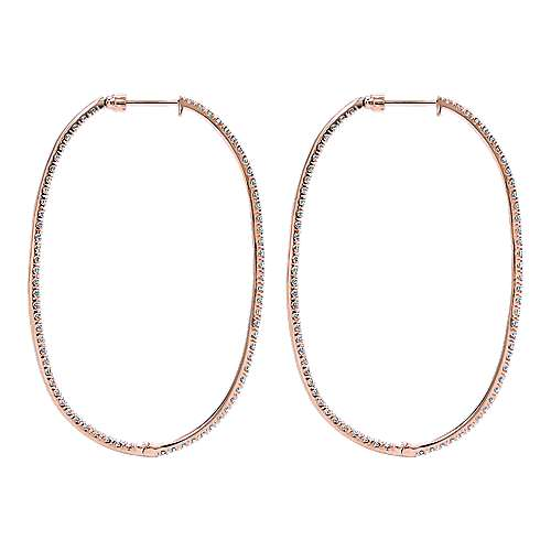 14K Rose Gold French Pavé 55mm Oval Inside Out Diamond Hoop Earrings