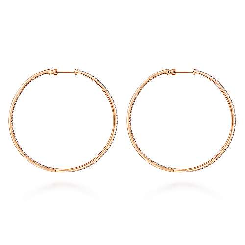 14K Rose Gold French Pavé 60mm Round Inside Out Diamond Classic Hoop Earrings