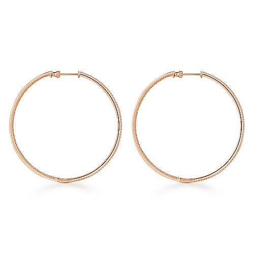 14K Rose Gold French Pavé 60mm Round Inside Out Diamond Hoop Earrings