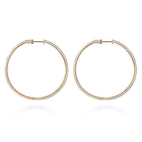 14K Rose Gold French Pavé 60mm Round Inside Out Diamond Hoop Earrings