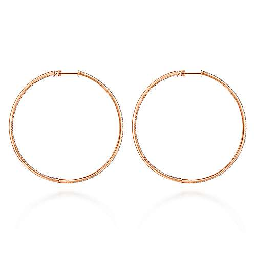 14K Rose Gold French Pavé 70mm Round Inside Out Diamond Classic Hoop Earrings