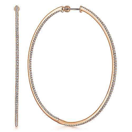 14K Rose Gold French Pavé 70mm Round Inside Out Diamond Hoop Earrings