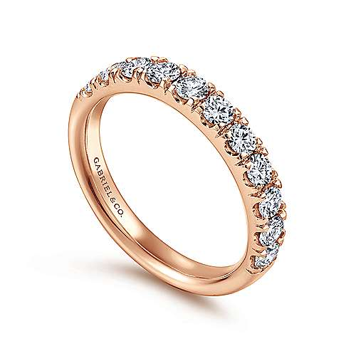 14K Rose Gold French Pavé Set Diamond Wedding Band