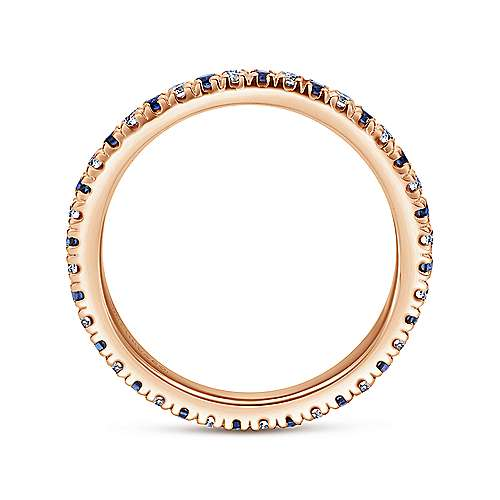 14K Rose Gold French Pavé Set Sapphire and Diamond Eternity Band