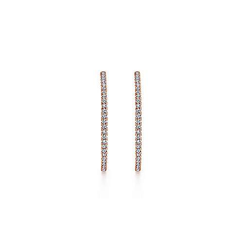 14K Rose Gold French Pave 40mm Round Inside Out Diamond Hoop Earrings