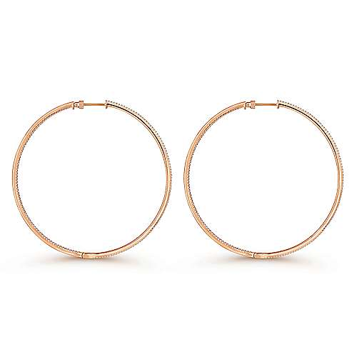 14K Rose Gold French Pave 70mm Round Inside Out Diamond Hoop Earrings