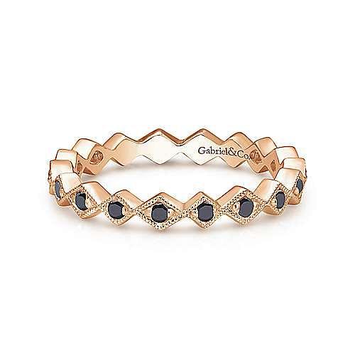 14K Rose Gold Geometric Black Diamond Stackable Ring