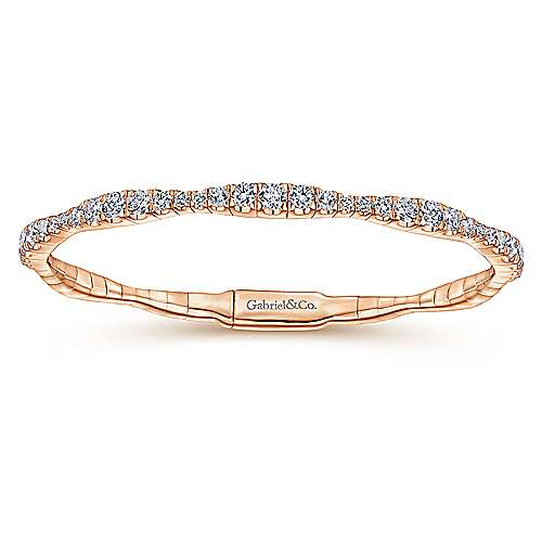 14K Rose Gold Graduating Diamond Station Bangle