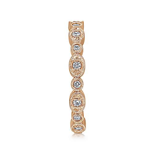 14K Rose Gold Graduating Station Diamond Stackable Ring