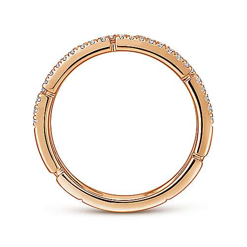 14K Rose Gold Greek Key Diamond Band