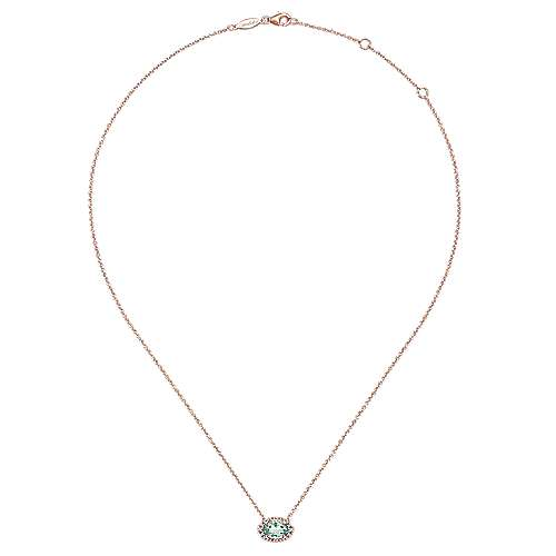 14K Rose Gold Green Amethyst and Diamond Necklace