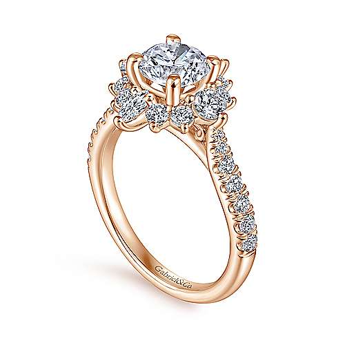 14K Rose Gold Halo Diamond Engagement Ring
