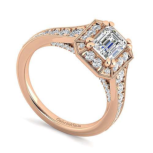 14K Rose Gold Halo Emerald Cut Diamond Engagement Ring