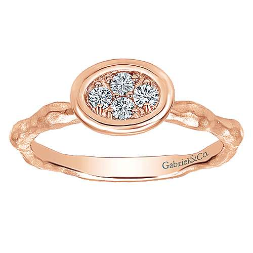 14K Rose Gold Hammered Ring with Oval Diamond Cluster Center