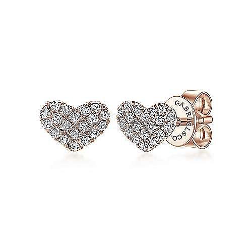 14K Rose Gold Heart Shaped Pavé Diamond Stud Earrings