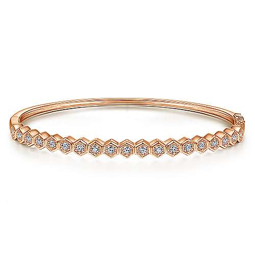 14K Rose Gold Hexagon Set Round Diamond Bangle