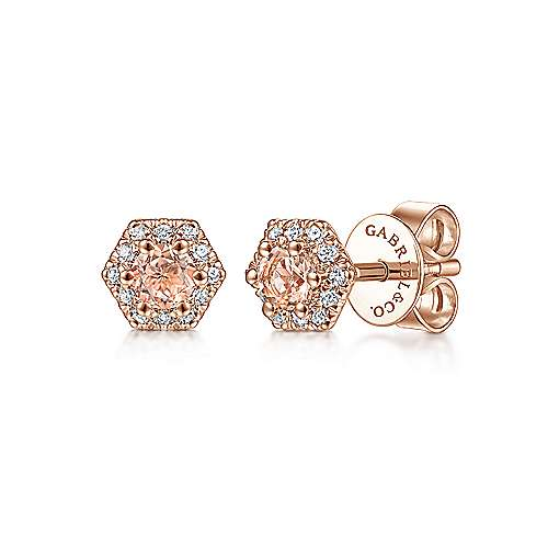 14K Rose Gold Hexagonal Morganite and Diamond Stud Earrings