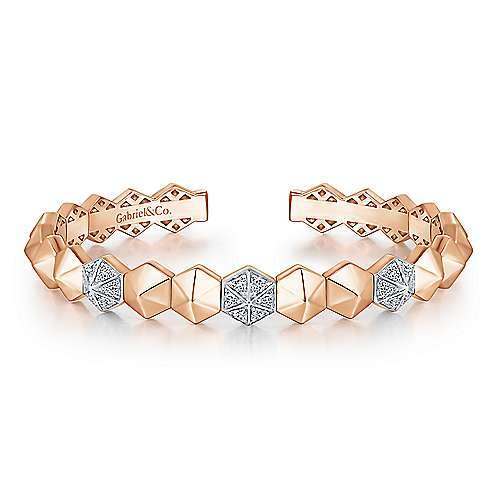 14K Rose Gold Hexagonal Pyramid Diamond Pavé Split Bangle