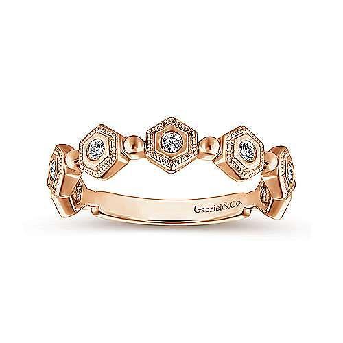 14K Rose Gold Hexagonal Station Diamond Band