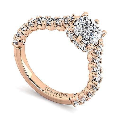 14K Rose Gold Hidden Halo Cushion Cut Diamond Engagement Ring