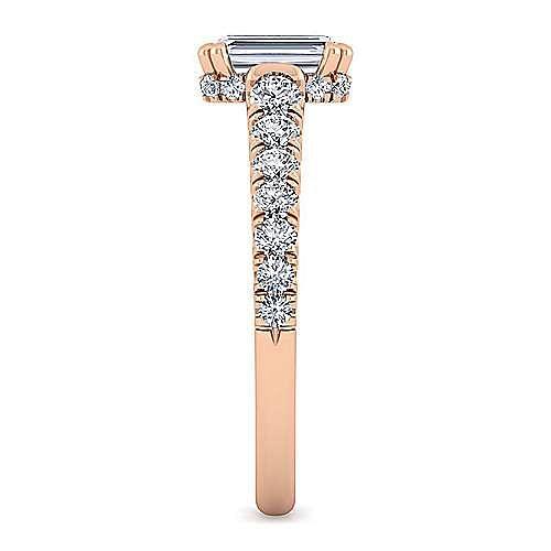 14K Rose Gold Hidden Halo Emerald Cut Diamond Engagement Ring