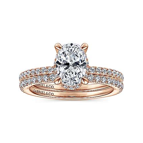 14K Rose Gold Hidden Halo Oval Diamond Engagement Ring