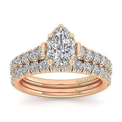 14K Rose Gold Hidden Halo Pear Shape Diamond Engagement Ring