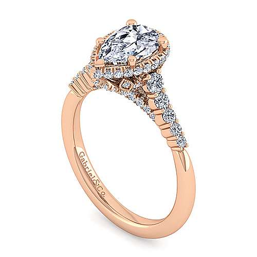 14K Rose Gold Hidden Halo Pear Shape Diamond Engagement Ring