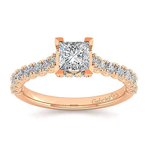 14K Rose Gold Hidden Halo Princess Cut Diamond Engagement Ring