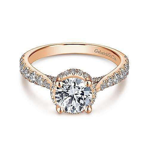 14K Rose Gold Hidden Halo Round Diamond Engagement Ring