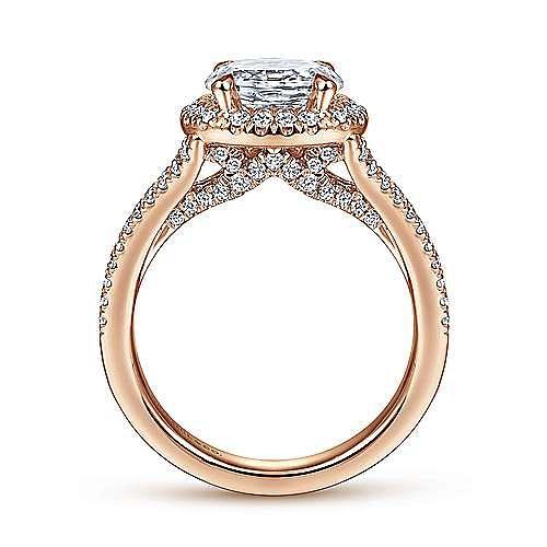 14K Rose Gold Horizontal Horizontal Oval Halo Diamond Engagement Ring